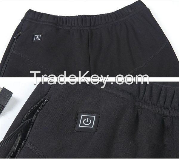 Heated Pants Winter Camping Warm Thick Pant Ski Hunting Usb Charging 3 Level Size S-5xl Black