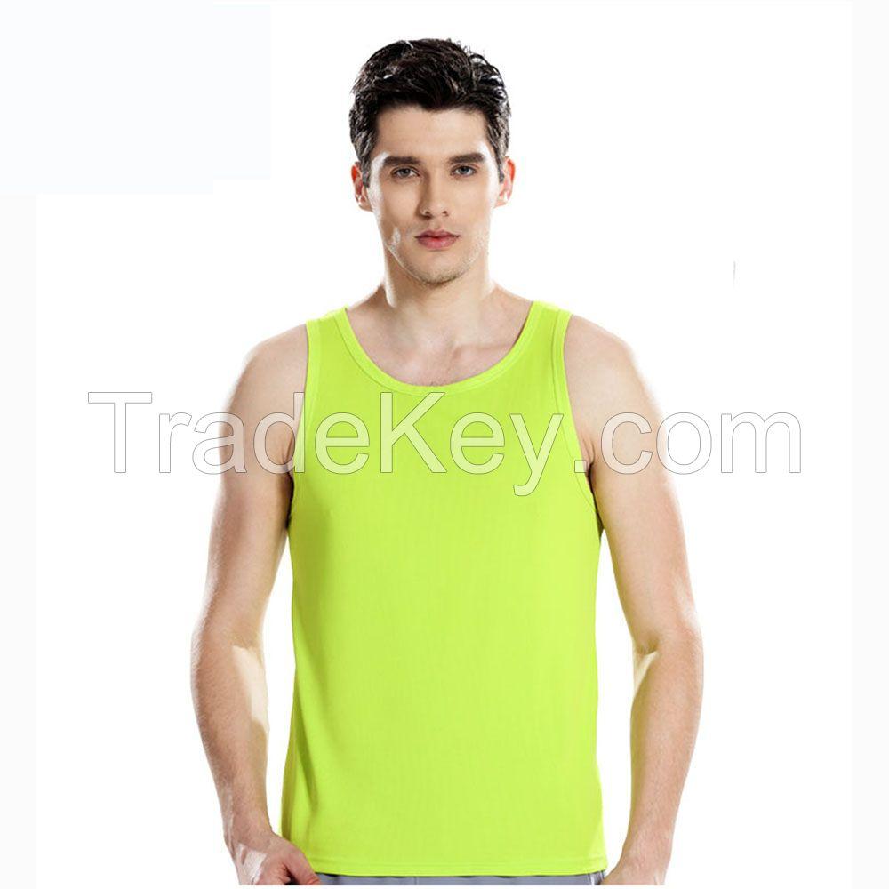 OEM Logo Printing Breathable Round Neck Sleeveless Mens Vest