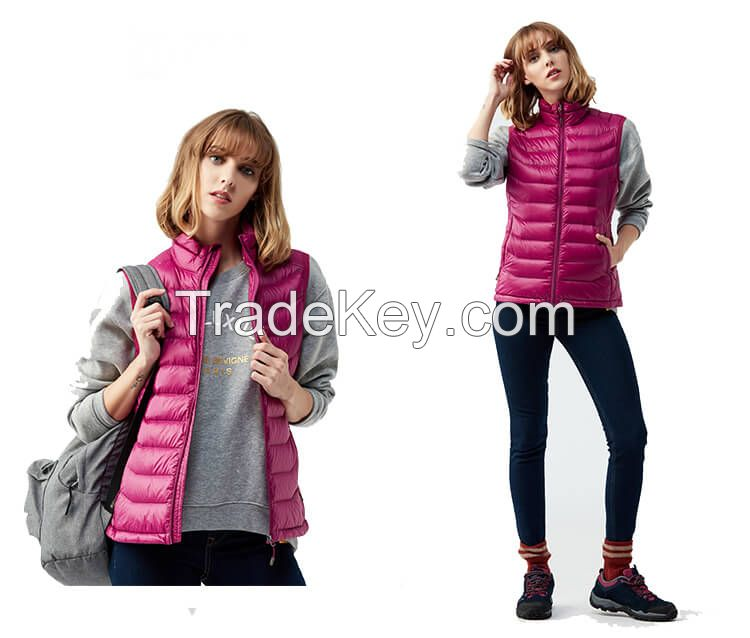Women High Quality Factory Cire Quilted Vest Polyfiller Waterproof Lady Sleeveless Waistcoats Utility Puffer Vest