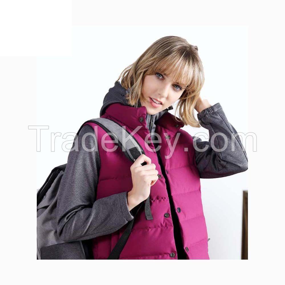 Outdoor Windproof White Black 100% Polyester Hiking Women Down Vest