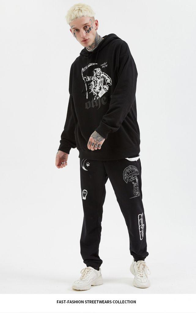 2019 Autumn Winter Hooded Hoodies Fashion Hip Hop Headwear Sweatshirts Kanji Print Hoody Hoodies Sweatshirts Us Size