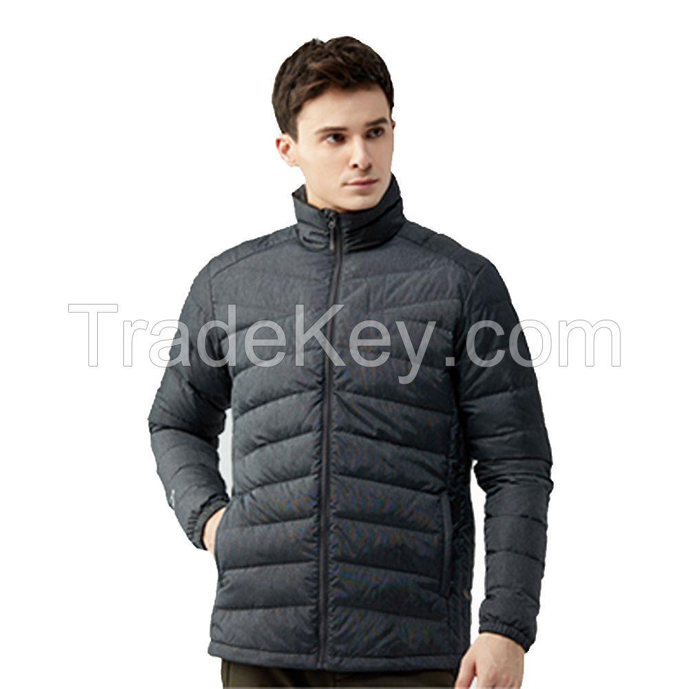 Matte Grey Duck Down Coat Men Winter Solid ColorJackets