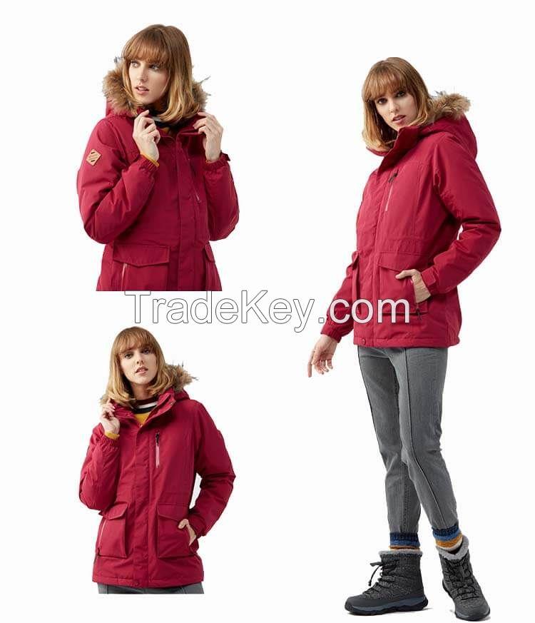 China Custom Women Winter Ski Warm Waterproof Down Fur Jacket