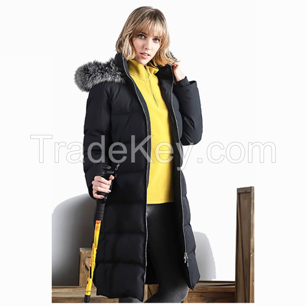 Custom Women Polyester Nylon Long Thick Women Cotton Jacket Parka Coat