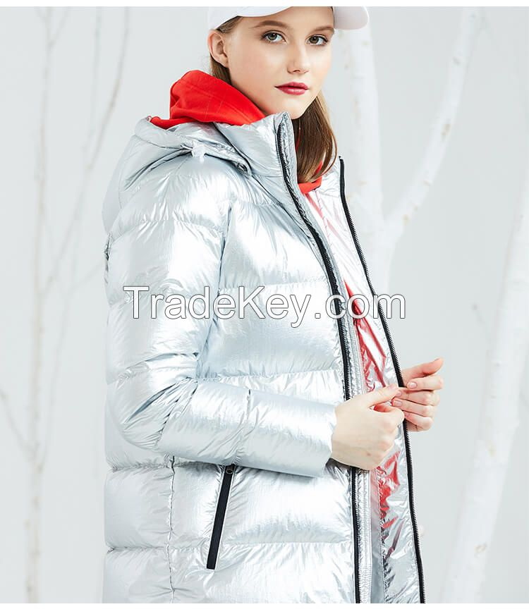 Women Hooded Super Thick Winter Down Jacket Duck Down Inside