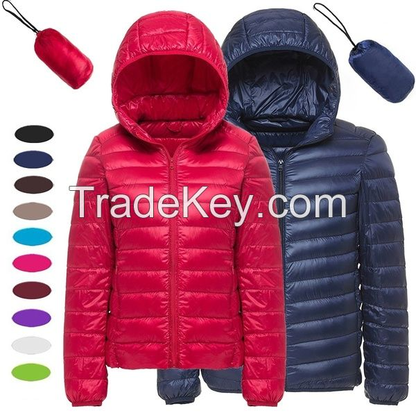 Winter Men and Women Fashion Lightweight Hooded Quilted Puffer Jacket