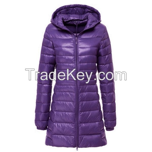 Women's Casual Hooded Outwear Fashion Winter Long Down Jacket Ultra Light White Duck Down Warm Slim Parkas Coat