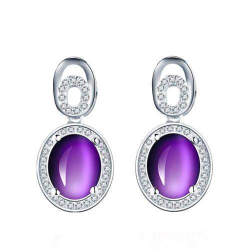 Fashion women cubic zirconia jewelry amethyst earrings 925 sterling silver studs earrings