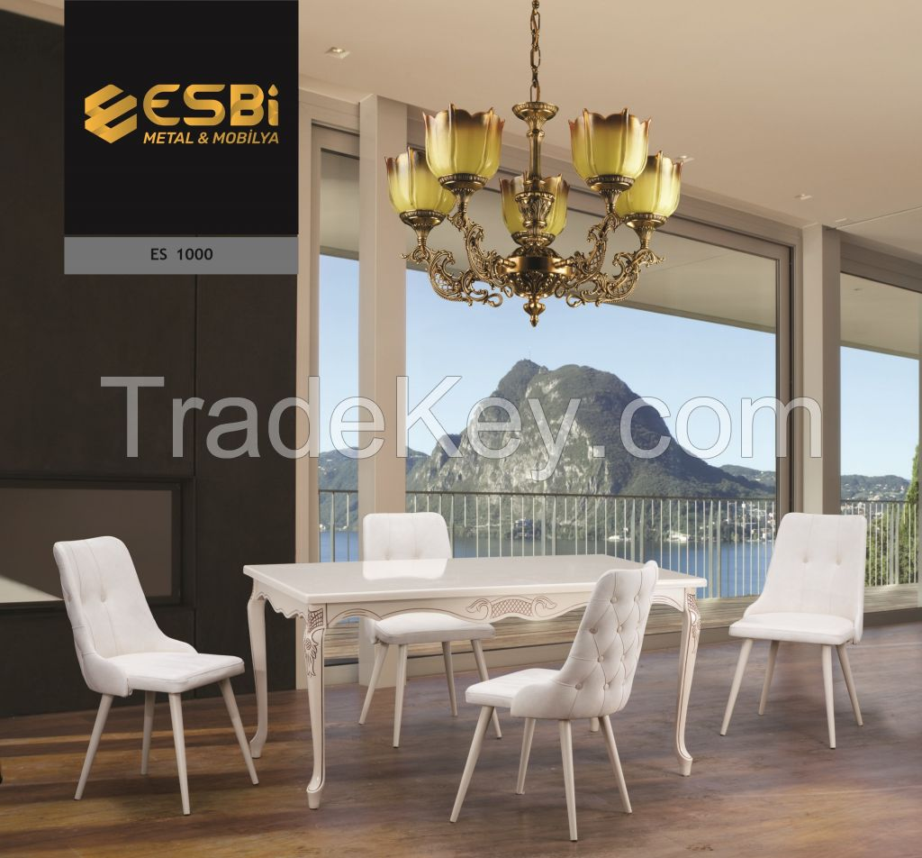 WOOD DINING TABLE SET WITH 6 CHAIRS (QUILTED )