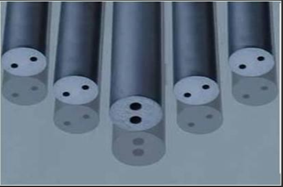 Solid Tungsten Round Bar / Double Straight Central Holes Tungsten Carbide Stock