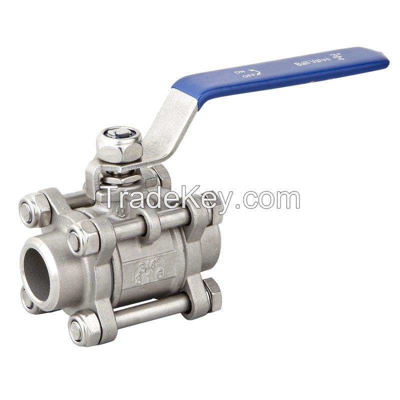 3pcs butt weld ball valve