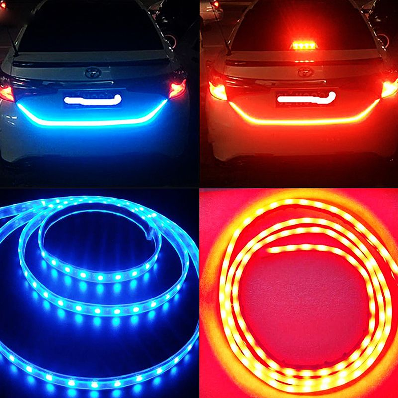 RGB Led strip car tail brake light Dual color flow type drl for trunk box with side turn signals rear lights