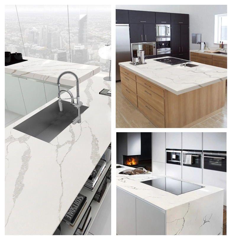 White faux quartz marble-textured modern kitchen countertop glass