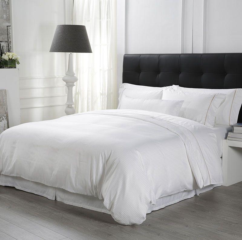 Eliya High Quality Bedroom 100% Cotton White Runner Quilt Cover Bedding Sheet Hotel Bed Set