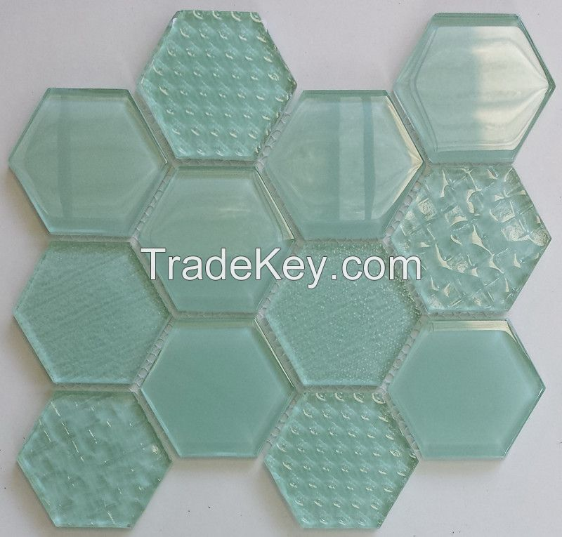 Waterjet Glass Mosaic - MD-1073HEXMS1P