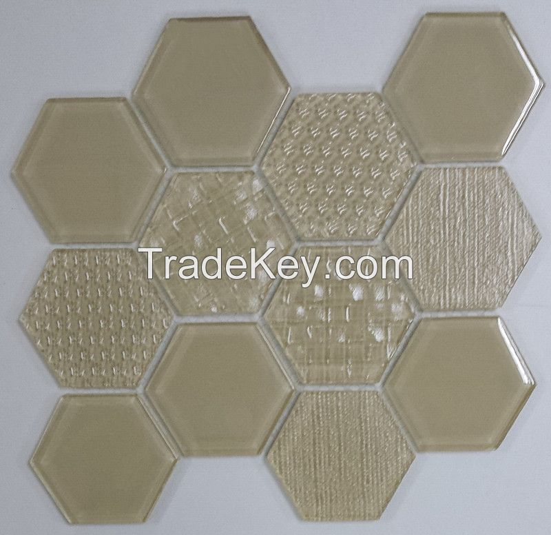 Waterjet Glass Mosaic - MD-1043HEXMS1P