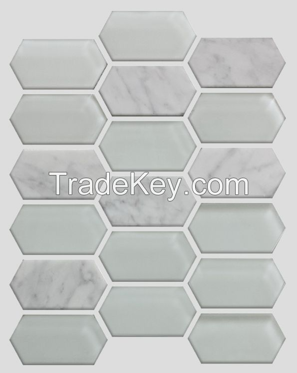 Waterjet Glass and Stone Mosaic - MD-1424HEXMS1P