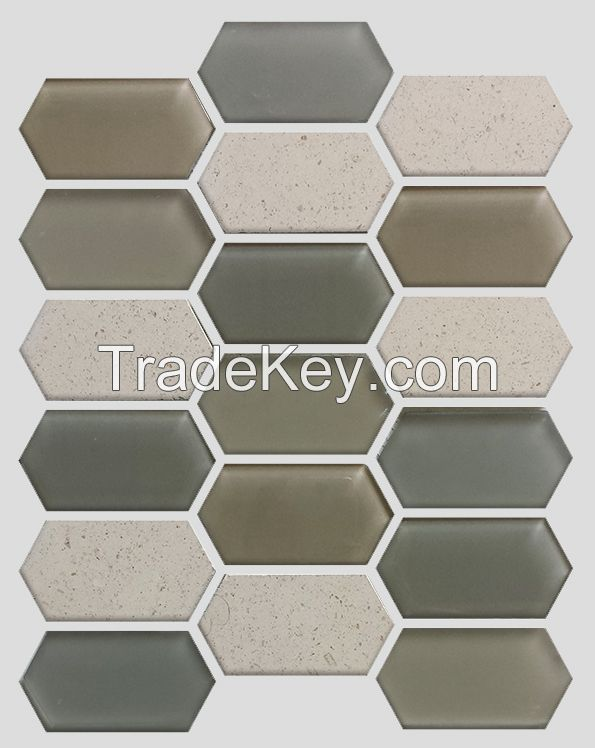 Waterjet Glass and Stone Mosaic - MD-1524HEXMS1P
