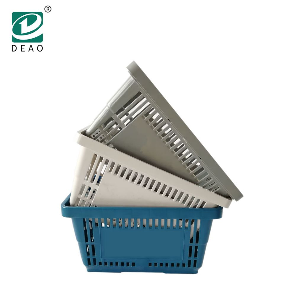 Unfoldable Double Handle Plastic Supermarket Shopping Basket Wholesale