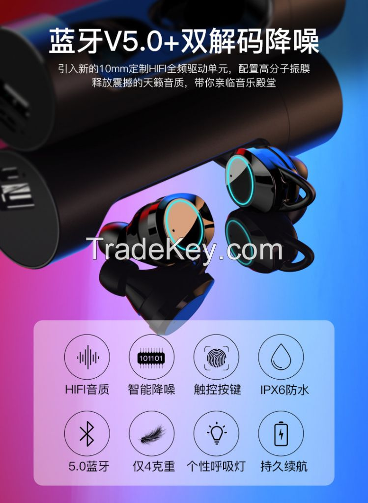 2019 competitive price TWS wireless earbuds noise cancelling and waterproof earbuds/earphone with mic