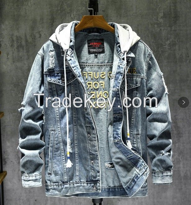 MEN'S DENIM HOODIE CAP JACKET HEAVY STONE ABRASION WASHED