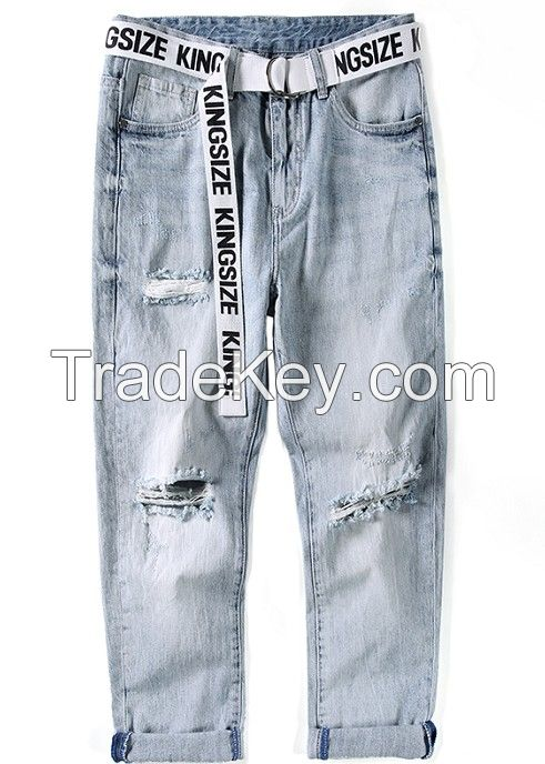 MEN JEANS STRAIGHT FIT WITH BELT HEAVY STONE ABRASION WASHED