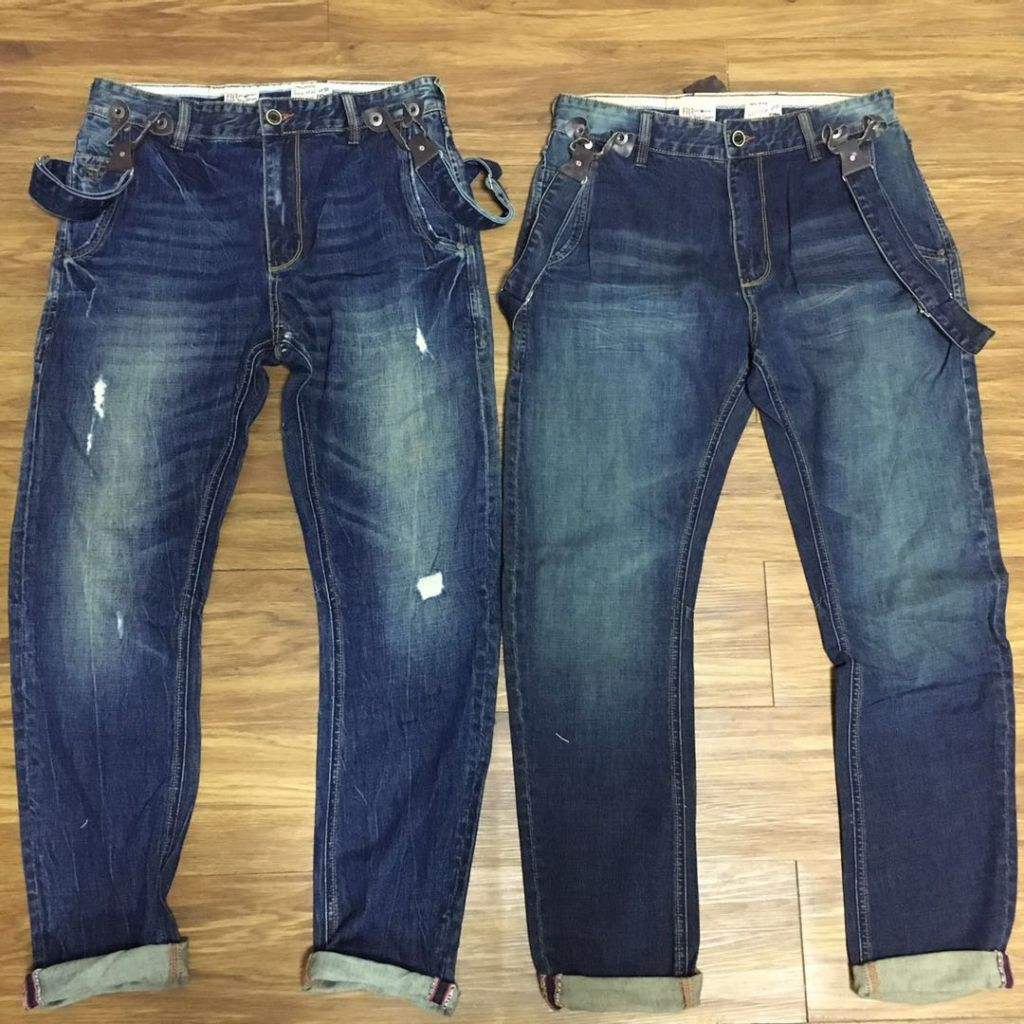 MENS SUSPENDER STRETCH JEANS STONE ENZYNE DISTRESS / DIRTY WASHED