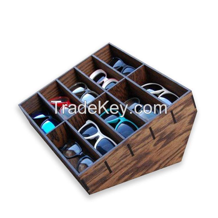 Customized sunglasses eyewear wood display eyewear MDF display stand organizer for supermarket