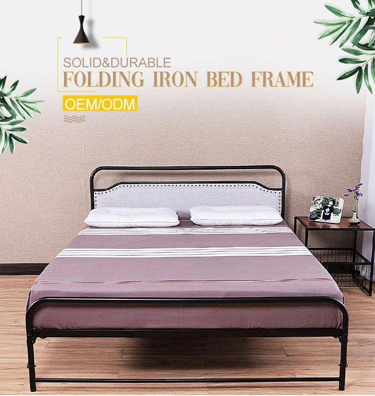 Hotel bedroom black metal frame folding bed