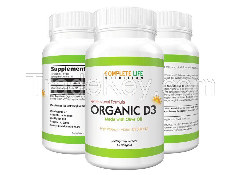 Organic Vitamin D3 5000 IU - High Absorption