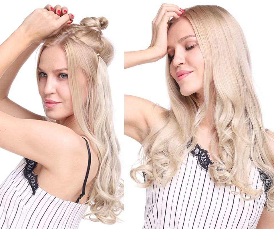 SNOILITE 20 inches Long Synthetic Hair Heat Resistant Hairpiece Fish Line Straight Hair Extensions Secret Invisible Hairpieces