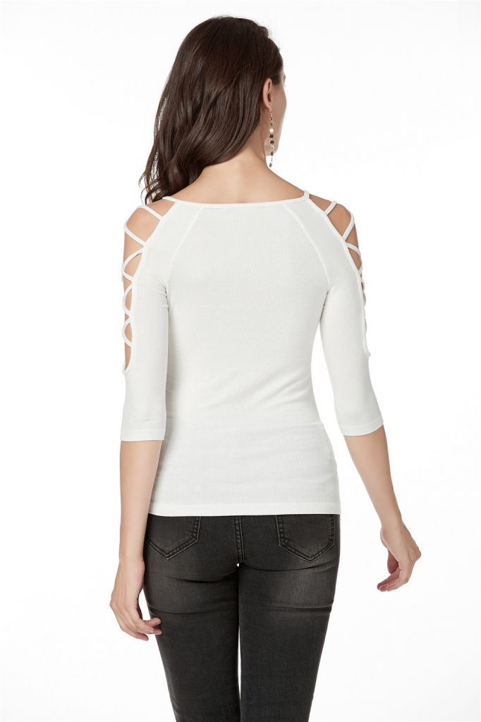 3/4 Sleeve Top Women, Knit Rib T-Shirts with Cross Binding Functional on Two sides of Shoulder