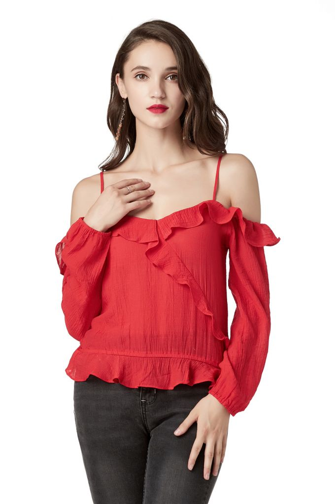 Off Shoulder Tops for Women Ruffle V Neck Long Sleeve Red Blouses for Women's Sexy Mini Tops