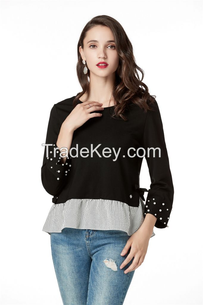 Black Long Sleeve Blouses for Women, Round Neck Cute Tops with Pearls on Cuff and Contrast Stripe on Hem