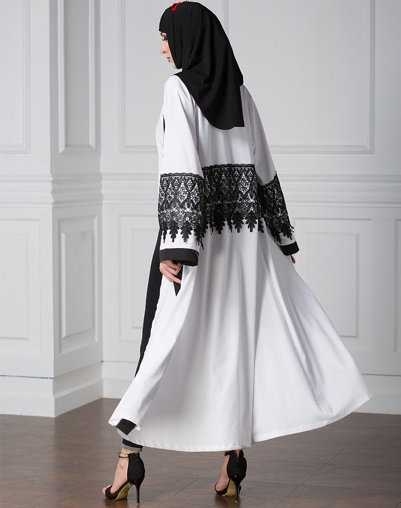 White Muslim Arab cardigan lace fashionable robe dress