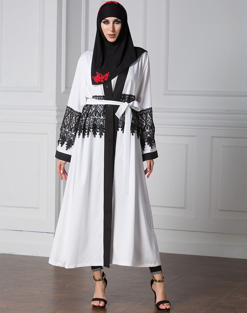 White Muslim Arab cardigan lace fashionable robe dress