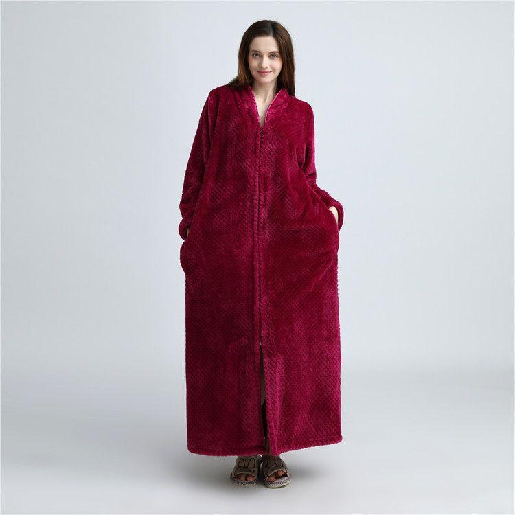 Ladies Zip Fleece Waffle Long Dressing Gown Fluffy Towelling Bathrobe Sleepwear