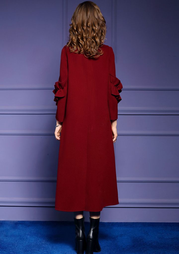 Women's new autumn/winter long double-breasted woolen coat with double-sided woolen coat