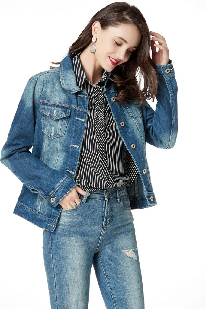 Patched embroidery denim jacket for women