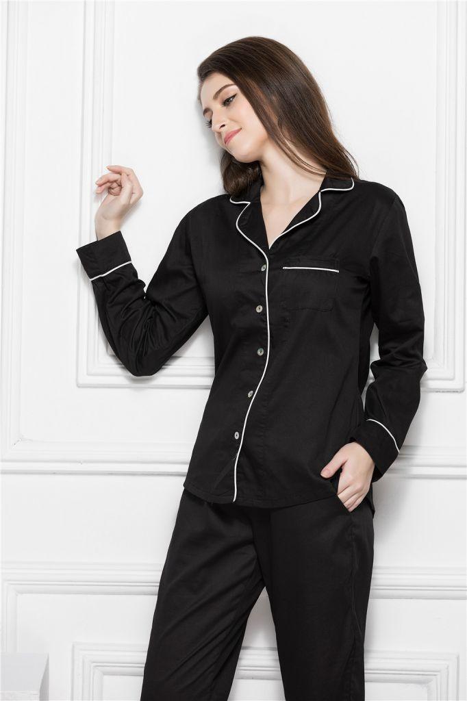 Pajamas for Women,Luxury Womens Pajamas,100% Cotton Women's Pajamas Button Down Pajama Piping Sets Sleepwear