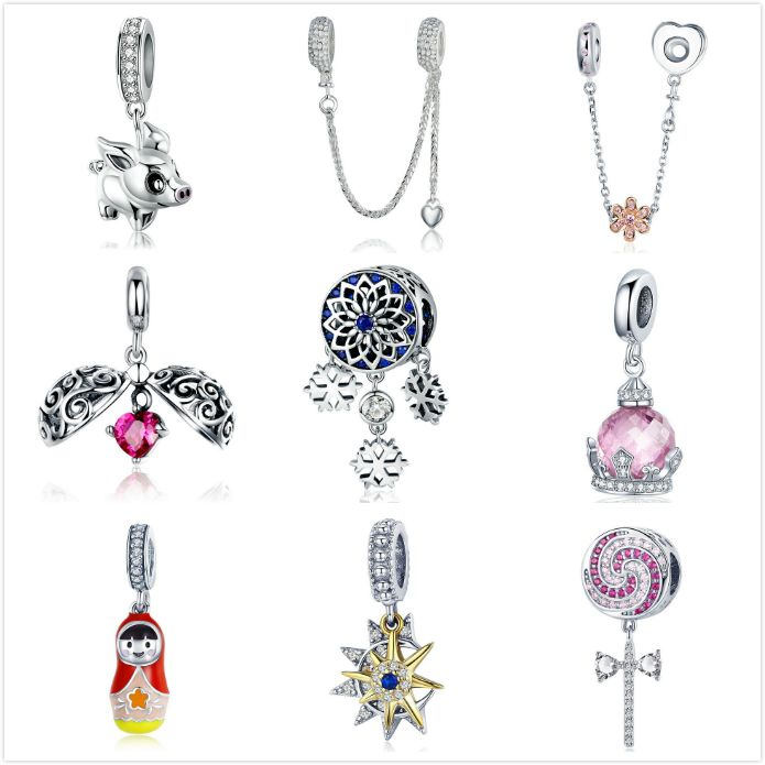 BAMOER s925 Sterling silver charms pendants For bracelet necklace womrn jewelry