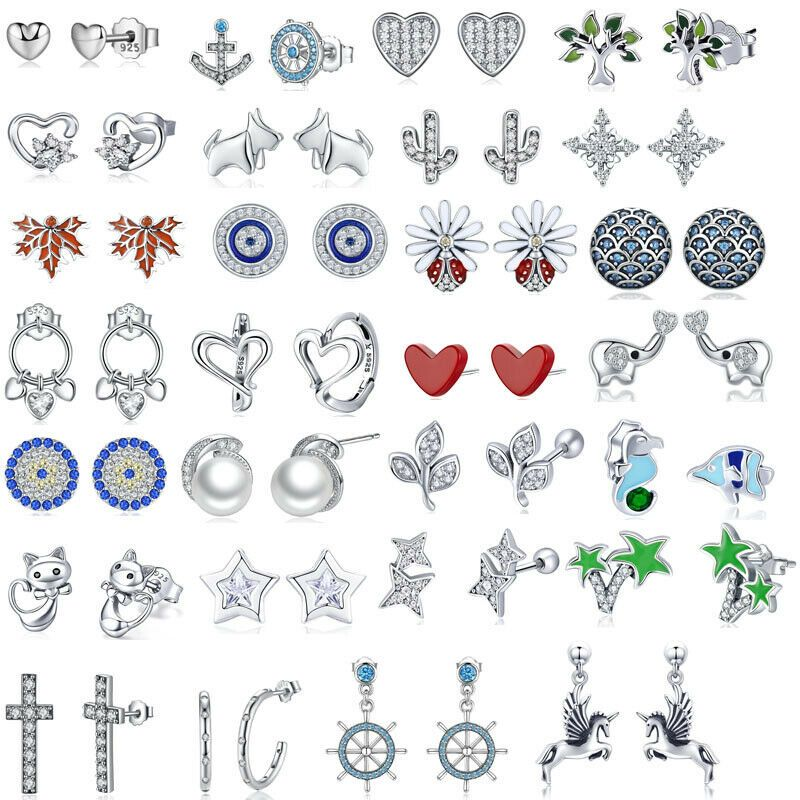 Fashion Authentic 925 Sterling Silver Stud/Hoop/Hook/Clip/ Earrings Jewelry Fit Women Girls