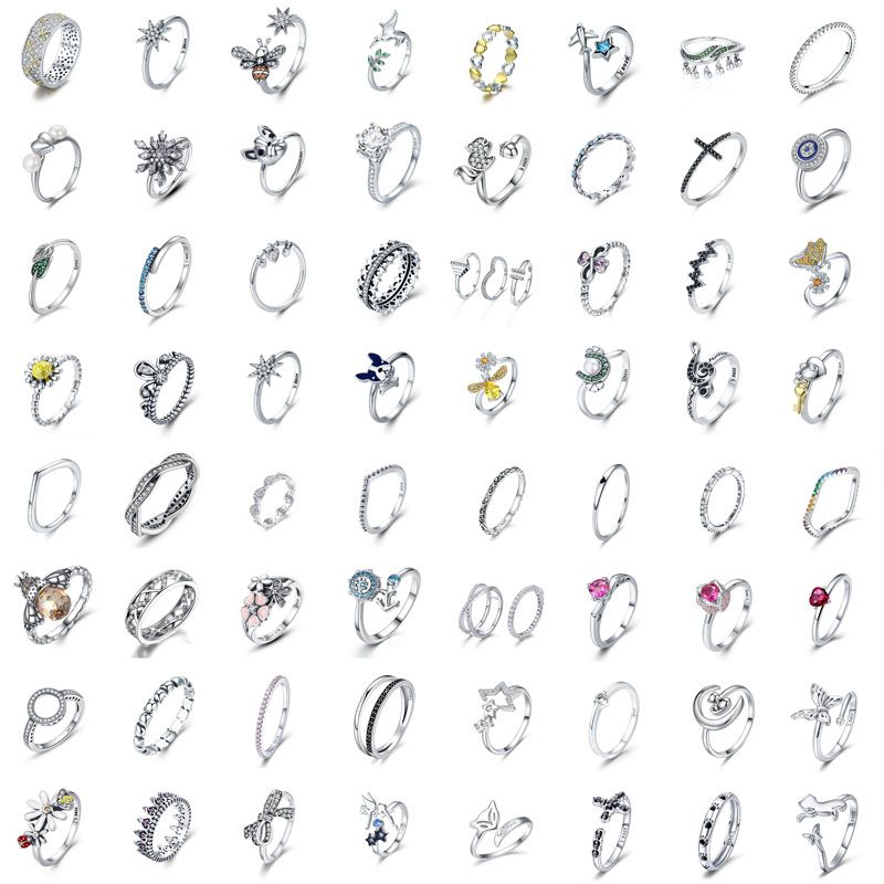 925 Sterling Silver Women Girls Wedding Party Finger Rings Jewelry For Gift