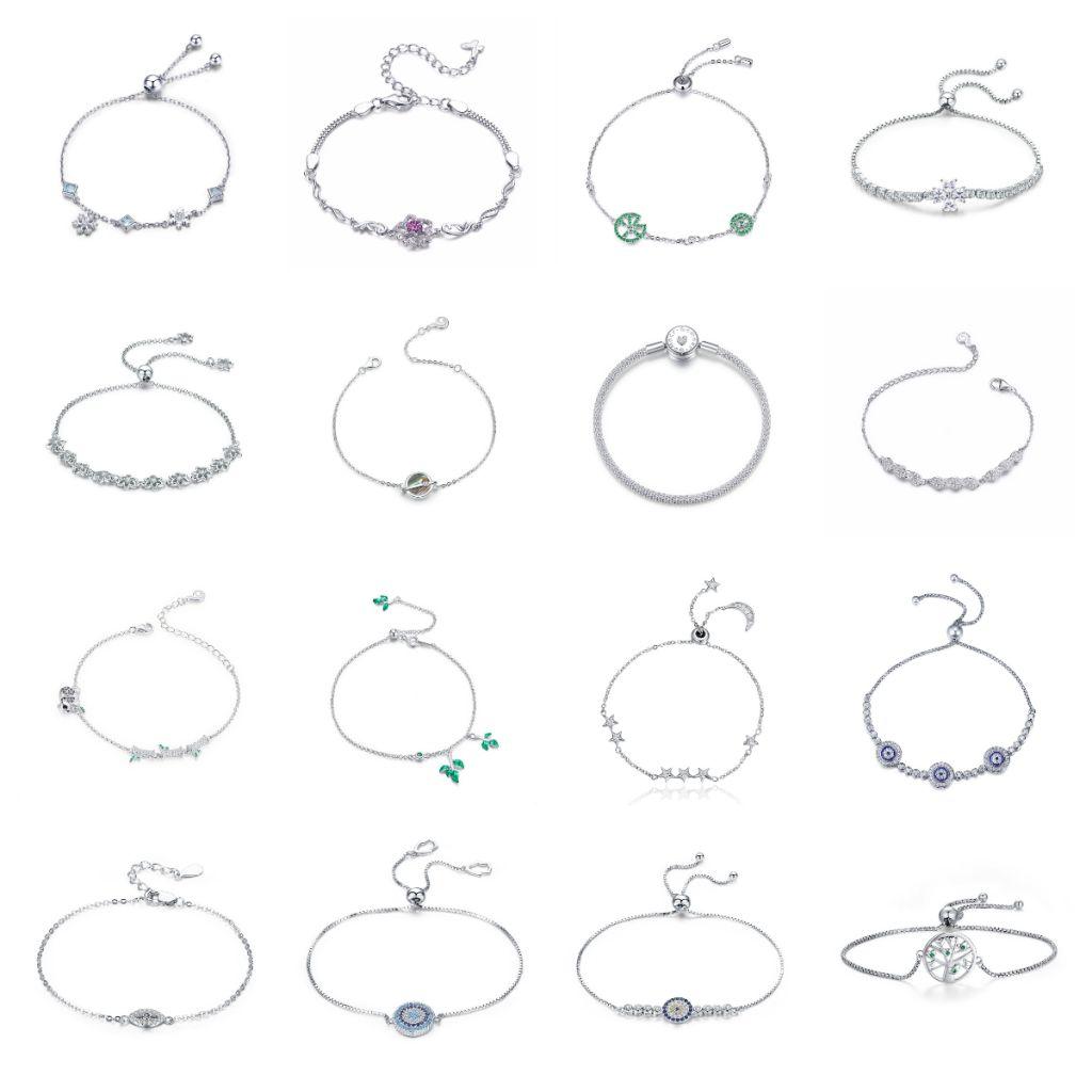 Bamoer 925 Sterling Silver Clasp/Charm/Leather/Bracelecet For Women Girls