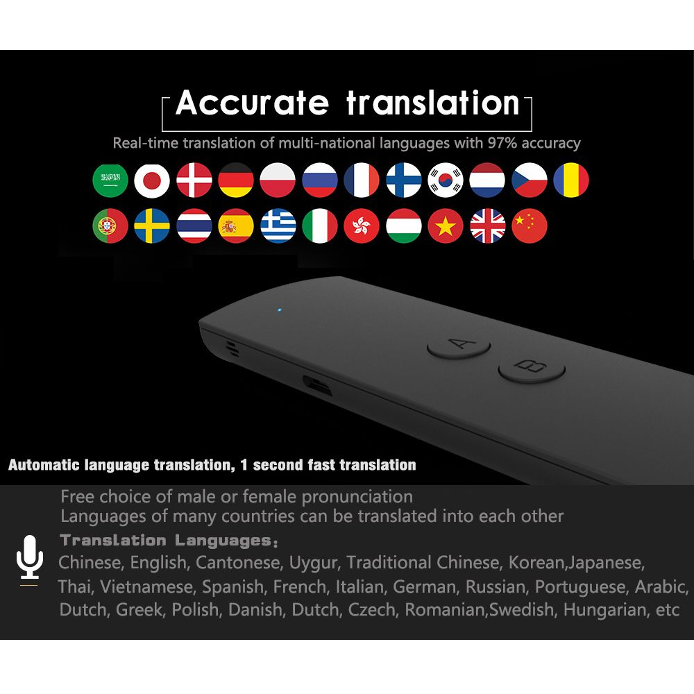 Portable Smart Voice Translator for Learning Travel Business Meeting voice Text Photo Language Translator