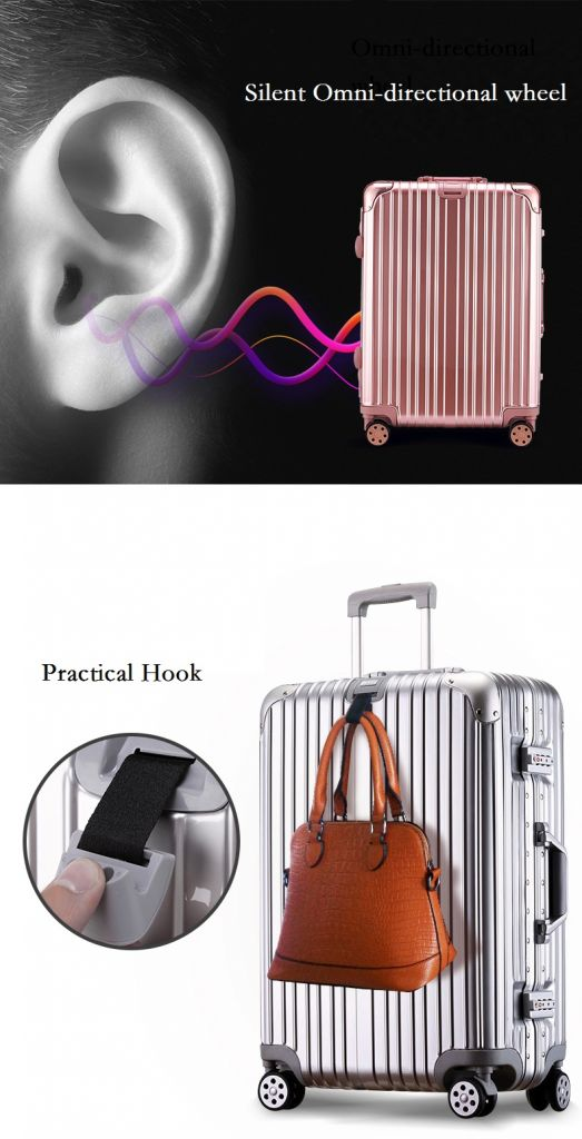 Wholesale High-end aluminum travel trolley waterproof suitcase rolling luggage with TSA lock