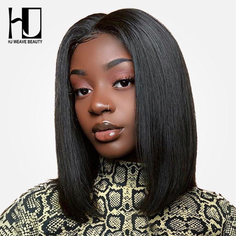 Short Lace Front Human Hair Wigs Bob Straight Wig