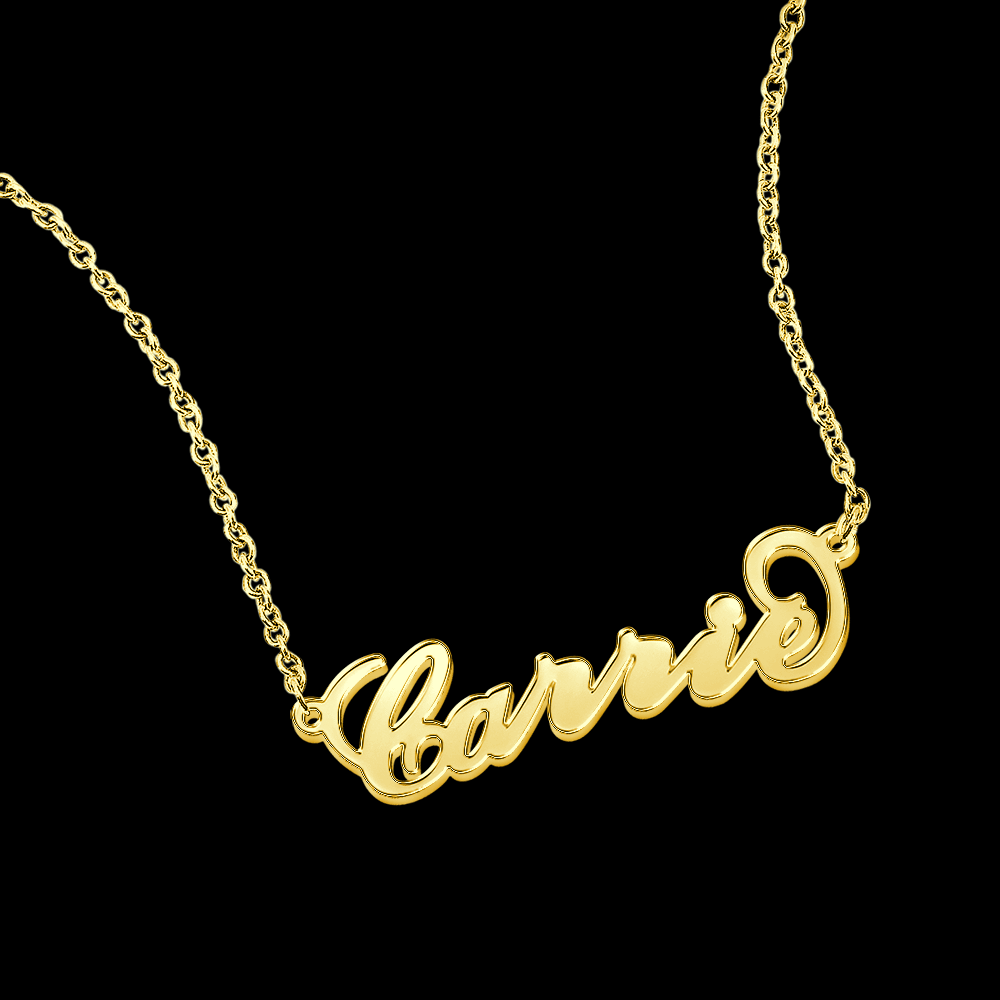 Carrie Style Copper Name Necklace 14K Gold Plated