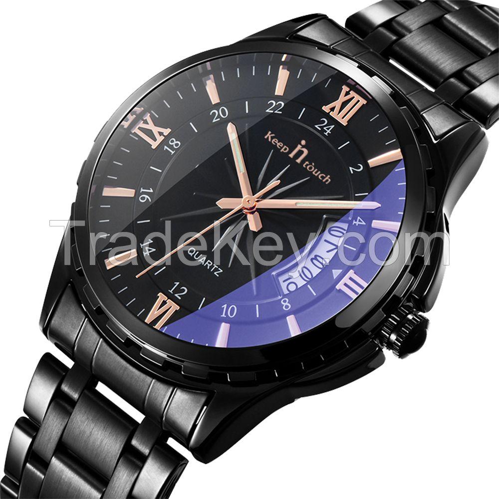 Wholesale Cheap Custom Logo men's quartz wrist Watches with steel band
