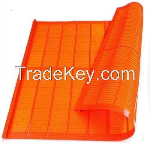 Tensioned polyurethane fine screen mesh